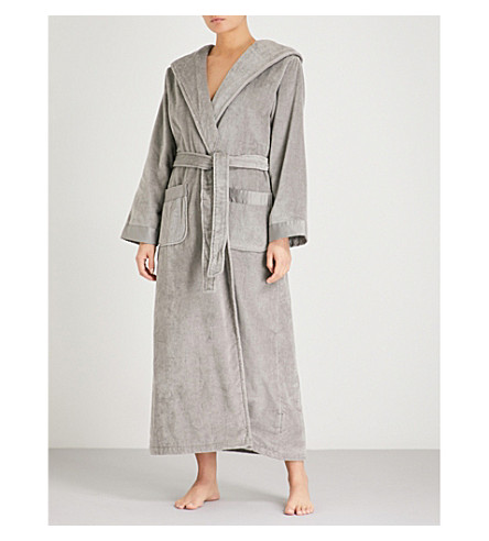THE WHITE COMPANY Hooded cotton-towelling robe (Graphite