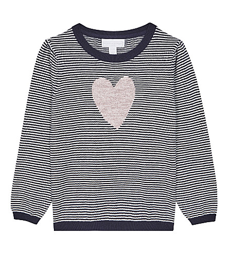 THE LITTLE WHITE COMPANY Striped cotton-blend jumper 1-6 years (Navy