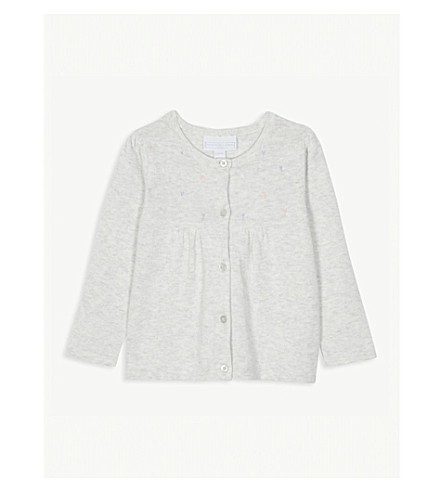 THE LITTLE WHITE COMPANY Heart embroidered cotton cardigan 0-24 months (Ecru+marl