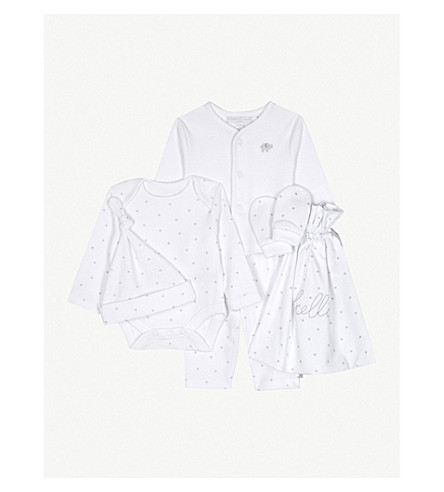 THE LITTLE WHITE COMPANY Hello Baby cotton gift set Newborn-6 months (White