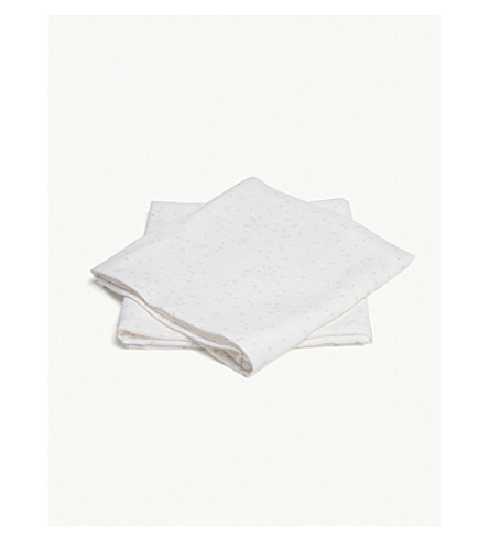 THE LITTLE WHITE COMPANY Heart print muslins set of two (White