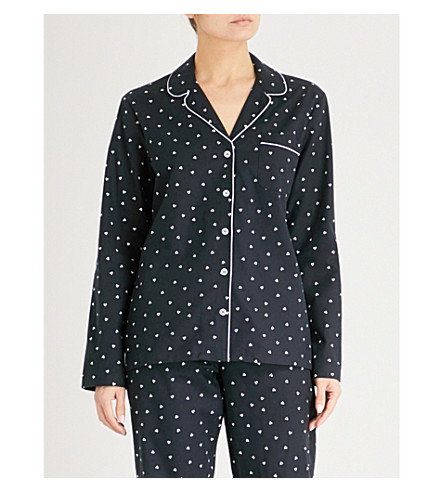 THE WHITE COMPANY Heart print flannel pyjama top (Navy/white