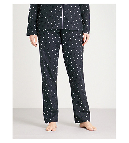 THE WHITE COMPANY Heart print flannel pyjama bottoms (Navy/white