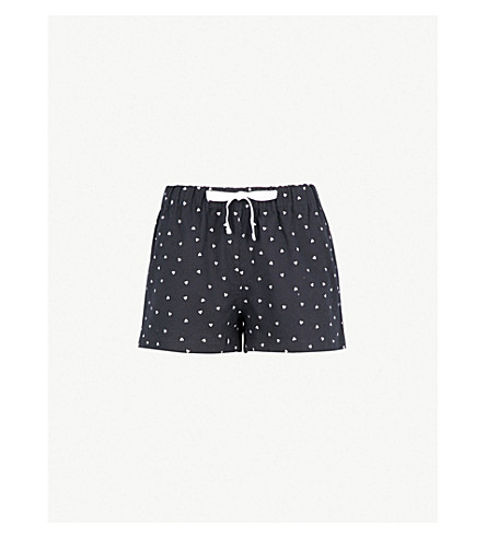 THE WHITE COMPANY Heart print flannel pyjama shorts (Navy/white