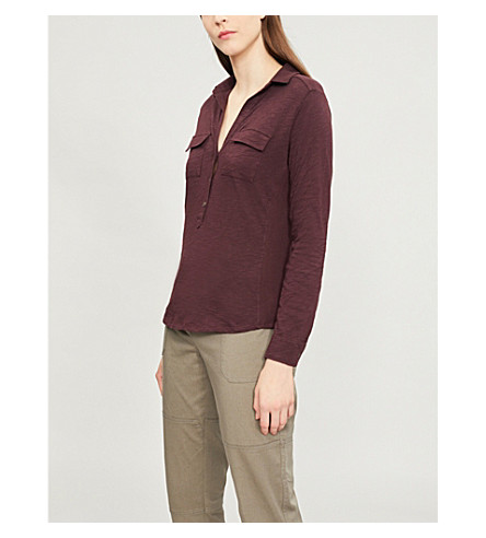 THE WHITE COMPANY Patch-pocket cotton top (Dark+mulberry