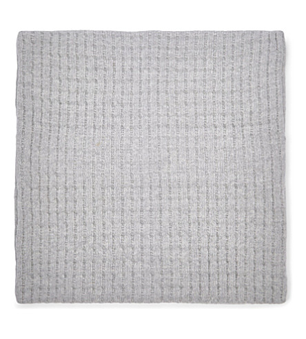 THE WHITE COMPANY Harris-knit small square cushion cover (Silver+grey