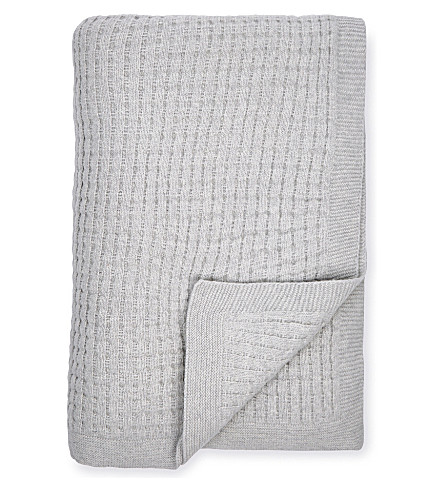 THE WHITE COMPANY Harris knit throw (Silver+grey