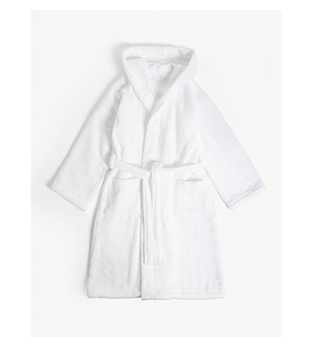 THE LITTLE WHITE COMPANY Hydrocotton unisex bathrobe 7-12 years (White