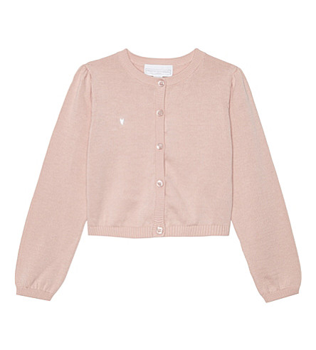 THE LITTLE WHITE COMPANY Heart motif cropped cardigan 3-4 years (Pink
