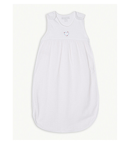 THE LITTLE WHITE COMPANY Heart seersucker cotton sleeping bag 0.5 tog (Chalk+pink