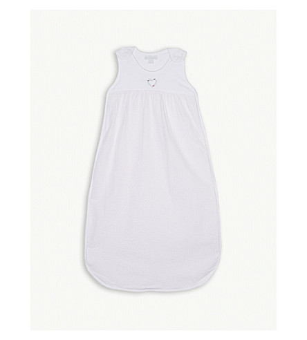 THE LITTLE WHITE COMPANY Heart cotton sleeping bag 0.5 tog (Chalk+pink