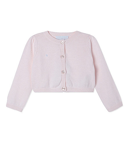 THE LITTLE WHITE COMPANY Cotton cropped cardigan 0-24 months (Whisper+pink