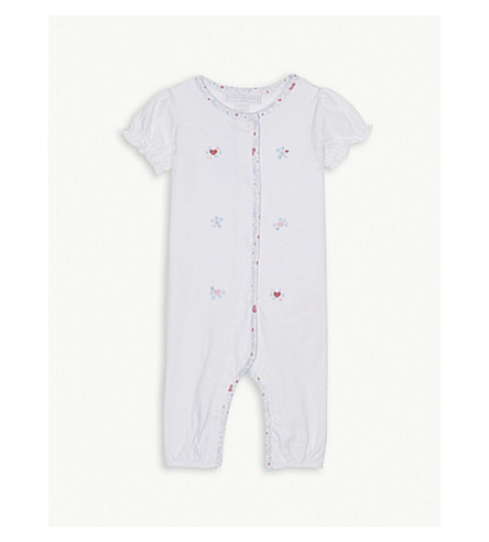 THE LITTLE WHITE COMPANY Embroidered cotton sleepsuit 0-24 months (Chalk+pink