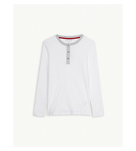 THE LITTLE WHITE COMPANY Henley long-sleeved cotton top 7-12 years (White