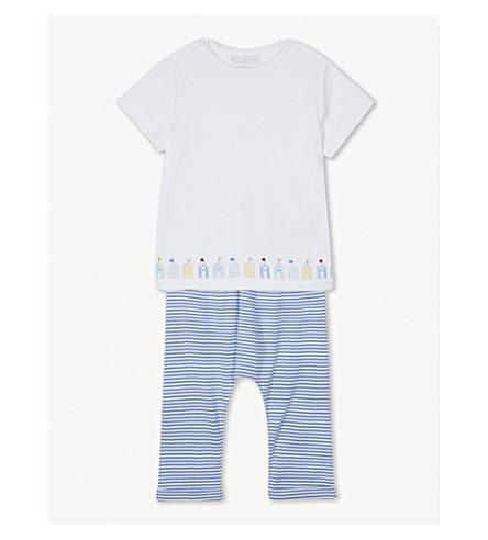 THE LITTLE WHITE COMPANY Beach hut print striped cotton pyjamas 0-24 months (Blue