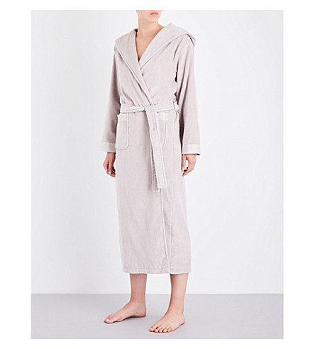 THE WHITE COMPANY Hooded velour robe (Ash+rose