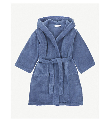 THE LITTLE WHITE COMPANY Bear ears hydrocotton dressing gown 2-5 years (Blue