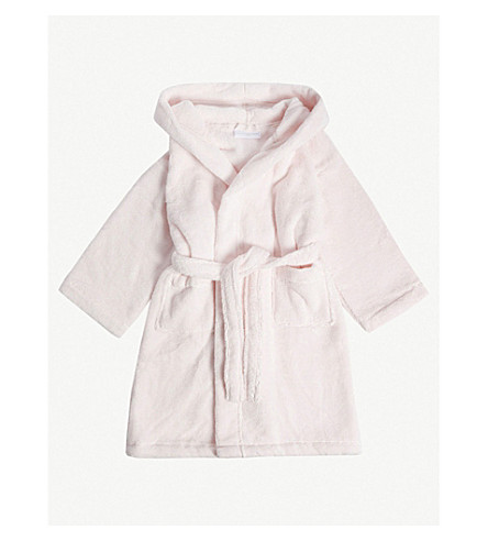 THE LITTLE WHITE COMPANY Bear ears hydrocotton dressing gown 2-5 years (Pink