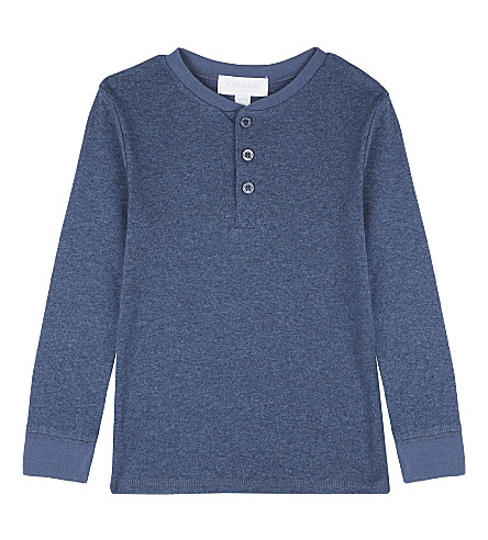 THE LITTLE WHITE COMPANY Henley cotton long-sleeved top 2-6 years (Blue