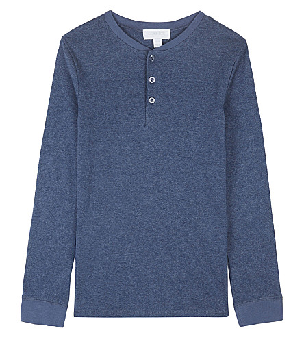 THE LITTLE WHITE COMPANY Henley cotton long-sleeved top 7-12 years (Blue
