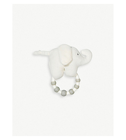 THE LITTLE WHITE COMPANY Indy Elephant rattle 10cm