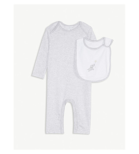 THE LITTLE WHITE COMPANY Indy striped cotton babygrow and elephant bib set 0-24 months (Grey