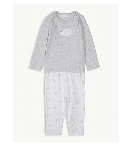 THE LITTLE WHITE COMPANY Indy elephant print cotton pyjamas 0-24 months (Grey