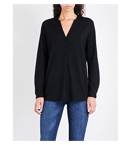 THE WHITE COMPANY V-neck jersey shirt (Black