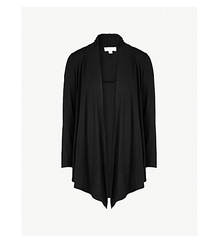 THE WHITE COMPANY Draped jersey cardigan (Black