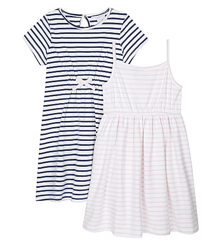 THE LITTLE WHITE COMPANY Jersey sheared dresses pack of two 1-6 years (Multi