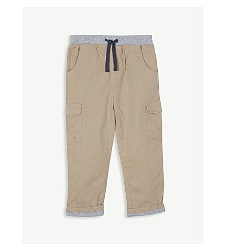 THE LITTLE WHITE COMPANY Jersey-lined cotton trousers 1-6 years (Stone