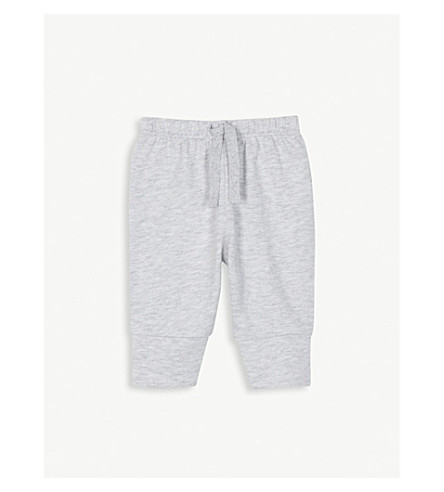 THE LITTLE WHITE COMPANY Jersey cotton jogging bottoms 0-24 months (Grey+marl