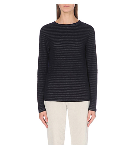 THE WHITE COMPANY Jacquard-stripe knitted top (Navy