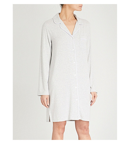 THE WHITE COMPANY Piped jersey night shirt (Silvergreymarl