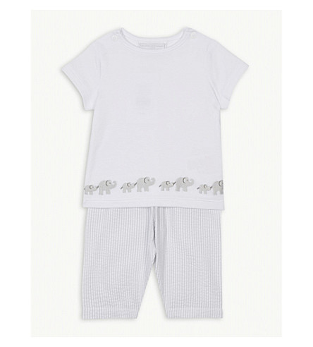 THE LITTLE WHITE COMPANY Kimbo seersucker striped cotton pyjamas 0-24 months (Grey
