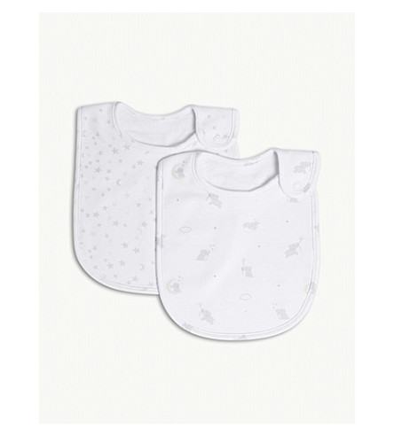 THE LITTLE WHITE COMPANY Kimbo star cotton bibs set of two (White