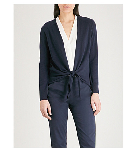THE WHITE COMPANY Knot-front wool and cotton-blend cardigan (Navy