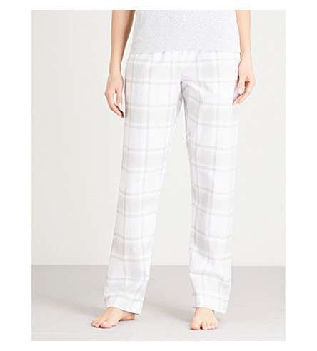 THE WHITE COMPANY Checked cotton pyjama trousers (Grey/white