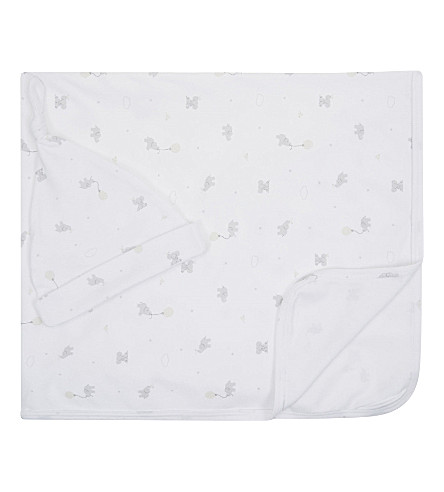 THE LITTLE WHITE COMPANY Kimbo cotton swaddling blanket & hat set Early baby-12 months (White