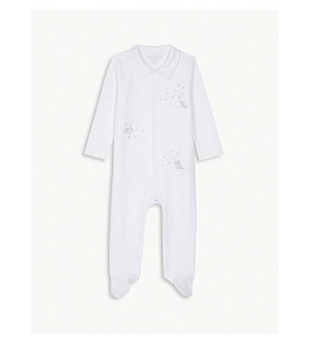 THE LITTLE WHITE COMPANY Kimbo cotton sleepsuit 0-24 months (White