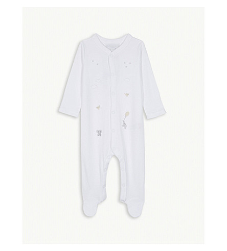 THE LITTLE WHITE COMPANY Kimbo embroidered cotton bodysuit 0-24 months (White