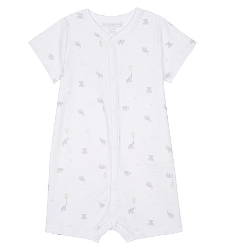 THE LITTLE WHITE COMPANY Kimbo print cotton short-all 0-24 months (White