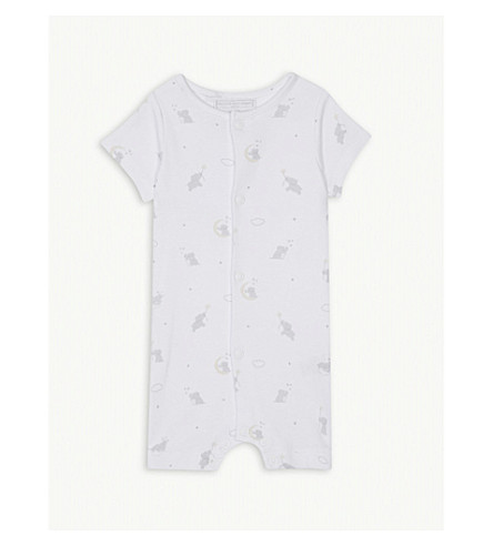 THE LITTLE WHITE COMPANY Kimbo print cotton sleepsuit 0-24 months (White