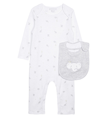 THE LITTLE WHITE COMPANY Kimbo baby-grow & bib set Newborn-24 months (White/grey