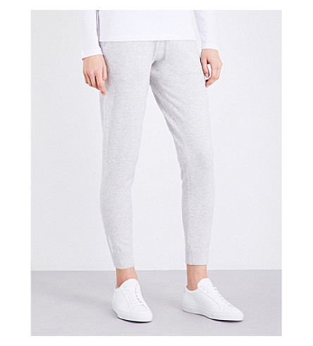 THE WHITE COMPANY Mid-rise knitted jogging bottoms (Pale+grey+marl
