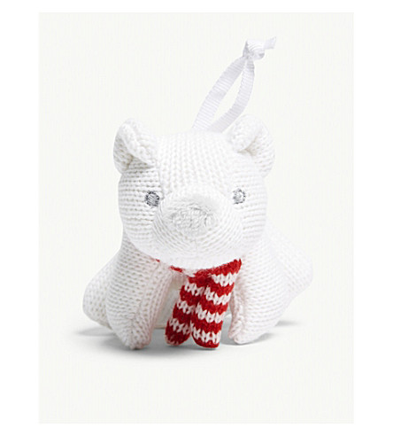 THE LITTLE WHITE COMPANY Knitted Lumi polar bear decoration (White