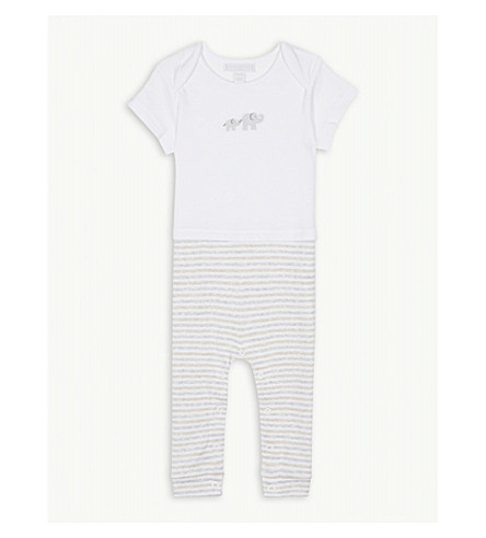 THE LITTLE WHITE COMPANY Kimbo striped cotton sleepsuit 0-24 months (White
