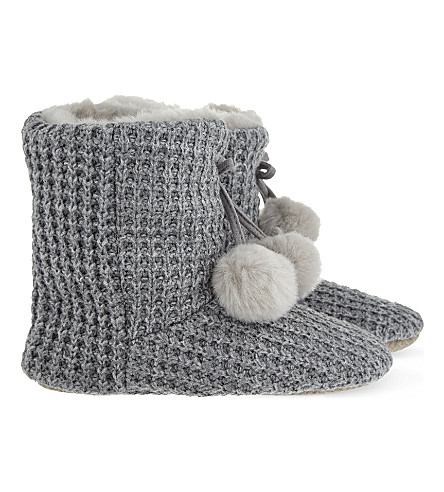 THE WHITE COMPANY Knitted pom pom slipper boots (Grey