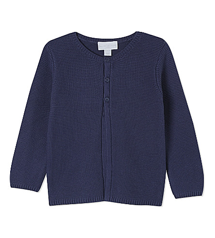 THE LITTLE WHITE COMPANY Knitted cotton cardigan newborn-24 months (Navy