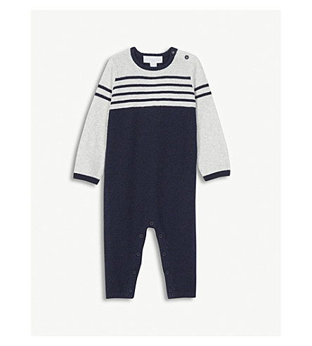 THE LITTLE WHITE COMPANY Knitted striped cotton romper 0-24 months (Multi